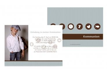Kommunionskarte Stripes-Buttons Grau 148x105mm