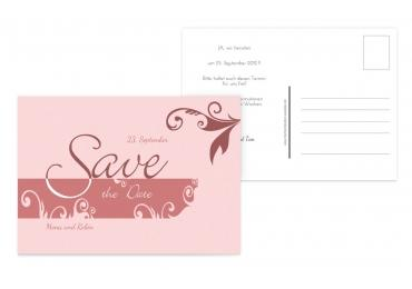 Save-the-Date squiggle square DunkelMattRot 148x105mm