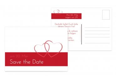 Save-the-Date Herzensband Rot 148x105mm