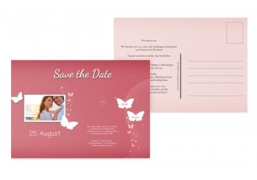 Save-the-Date Din Traumpaar PinkLeuchtend 148x105mm
