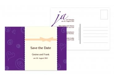Save-the-Date curly hearts 148x105mm 5000092133