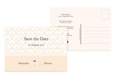 Save-the-Date Ornament mit Herz 148x105mm 5000092649