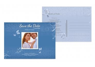 Save-the-Date butterfly KräftigHellMarineblau 148x105mm