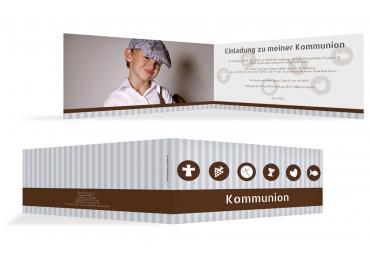 Kommunionskarte Stripes-Buttons Grau 215x105mm