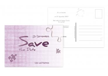 Save-the-Date Puzzle RosaLila 148x105mm