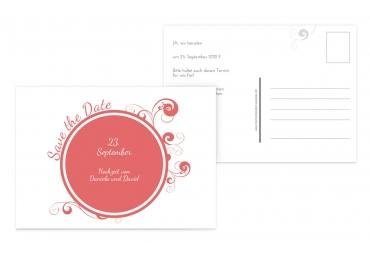 Save-the-Date squiggle chubby DunkelMattRot 148x105mm