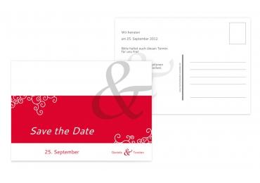 Save-the-Date Band der Liebe Rot 148x105mm