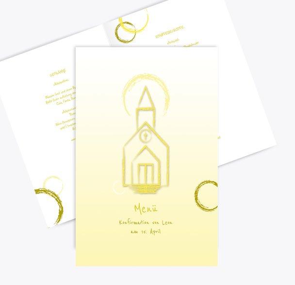Menükarte zur Konfirmation Kirche