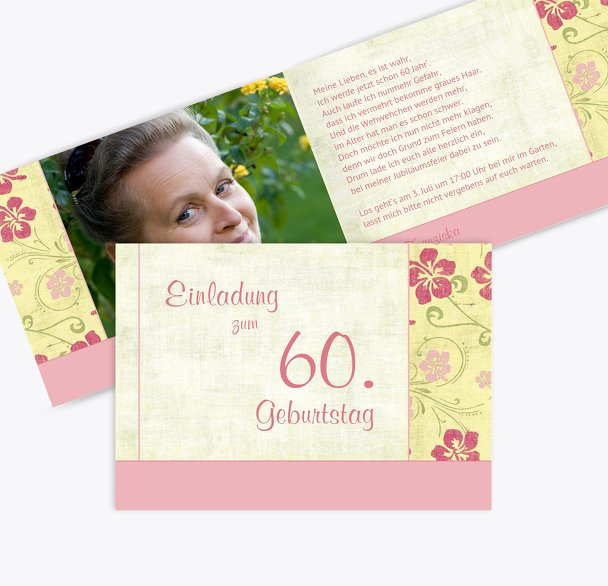Einladung zum Geburtstag Foto Hibiskus 60