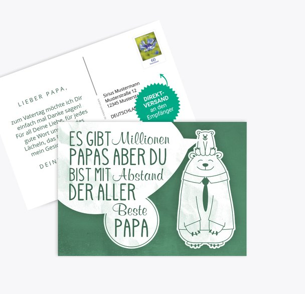 Vatertagskarte Papa Bär