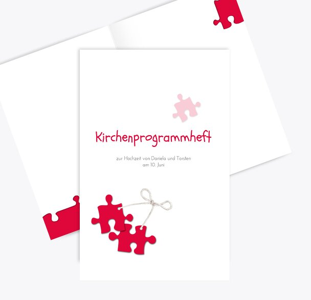 Hochzeit Kirchenheft Umschlag Puzzleteile