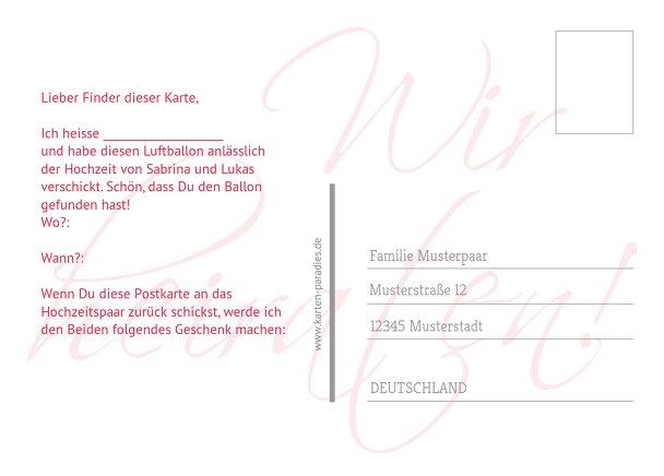 Ansicht 3 - Hochzeit Ballonkarte Liebesbrief