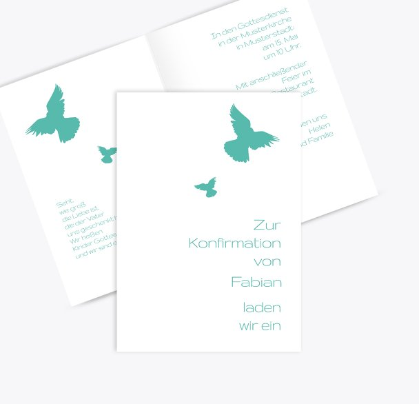 Konfirmationskarte Einladung Taube
