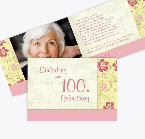 Einladung zum Geburtstag Foto Hibiskus 100