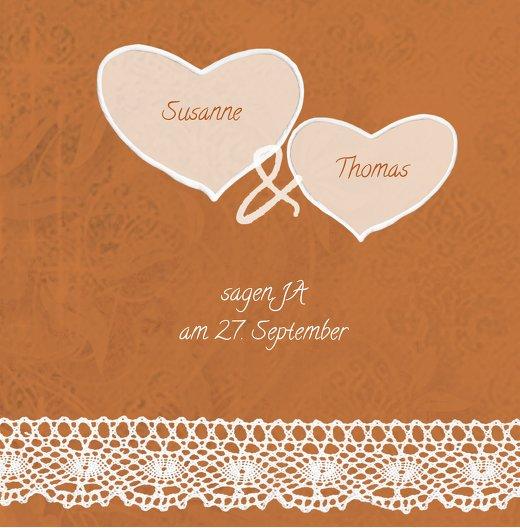 Ansicht 2 - Kontur Einladung Herzband Blumen