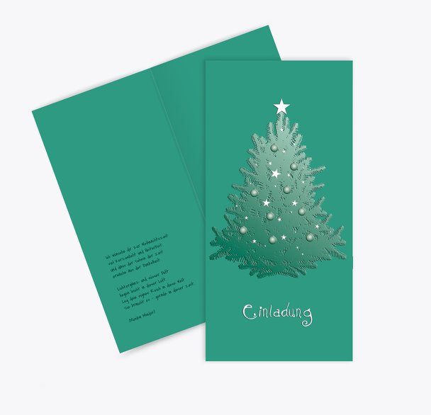 Einladung geschmückter Baum