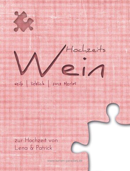 Ansicht 2 - Hochzeit Flaschenetikett Puzzle