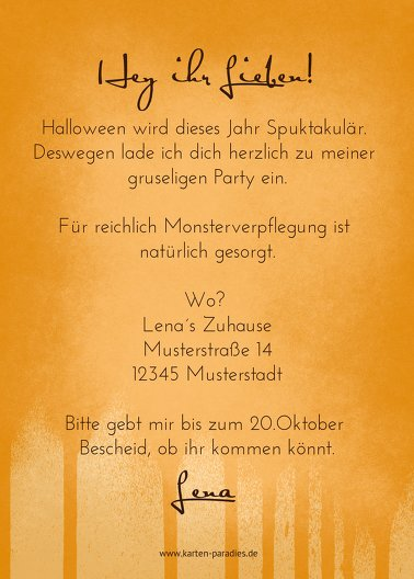 Ansicht 3 - Halloweenkarte Kürbis