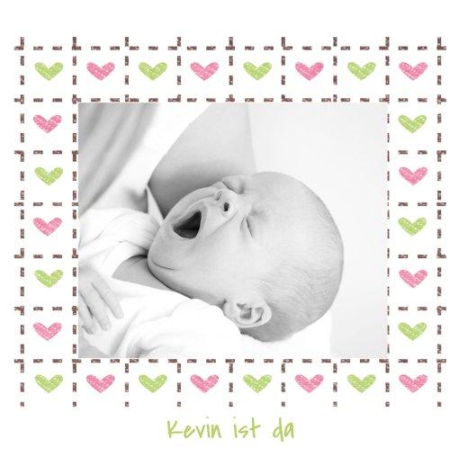 Ansicht 3 - Babykarte Herzrahmen