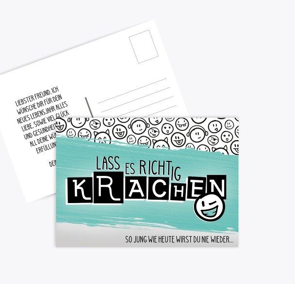 Glückwunschkarte zum Geburtstag Krachen