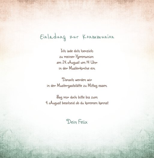Ansicht 6 - Kommunionskarte grunge Engel