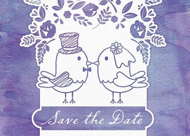 Ansicht 2 - Save-the-Date Vogelpaar