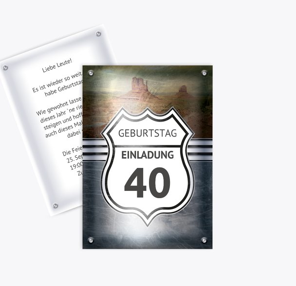 Geburtstagseinladung Route 40