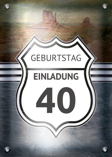 Ansicht 2 - Geburtstagseinladung Route 40