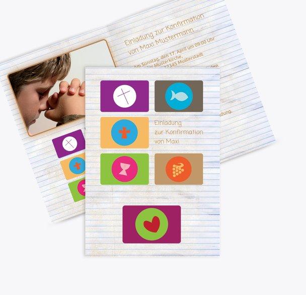 Einladungskarte zur Konfirmation buttons