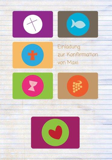 Ansicht 3 - Einladungskarte zur Konfirmation buttons