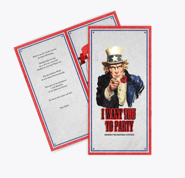 Einladungskarte i want you