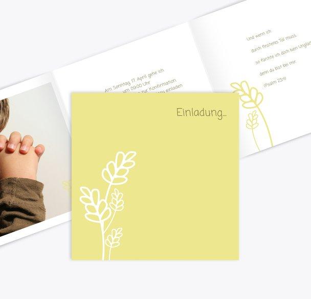 Einladungskarte zur Konfirmation Gräser