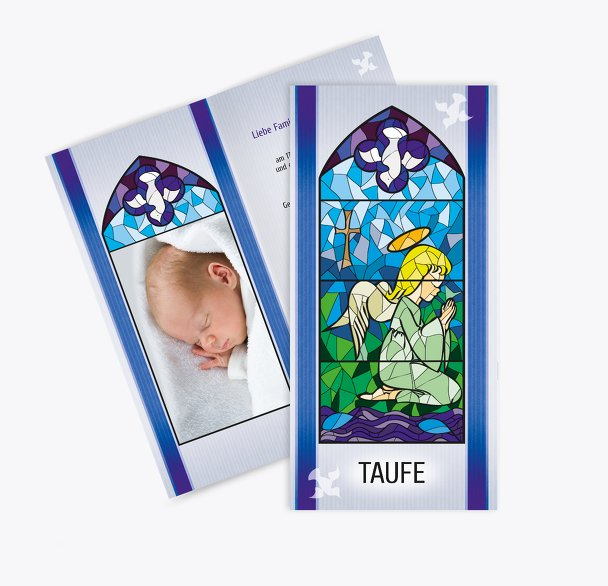 Taufe Einladungskarte Kirchenfenster