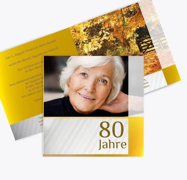 Geburtstagseinladung Laubgold 80