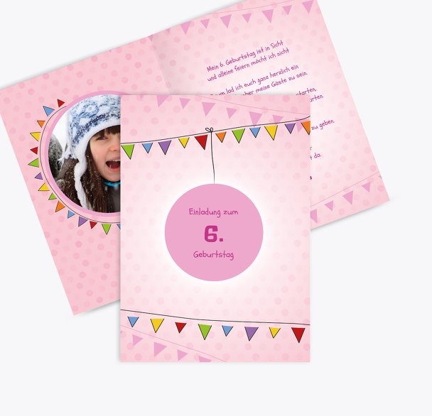 Einladungskarte zum Kindergeburtstag Foto Lampion