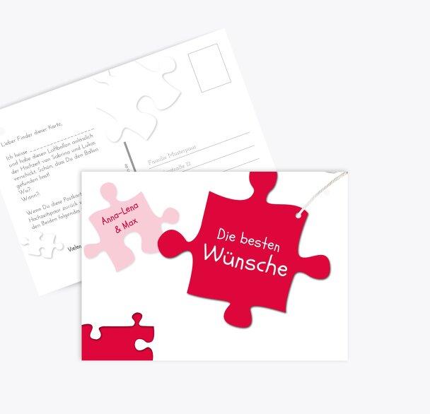 Hochzeit Ballonkarte Puzzleteile
