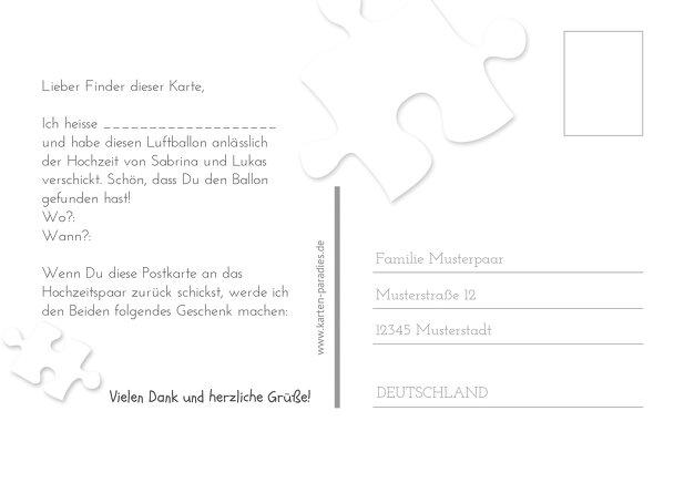 Ansicht 3 - Hochzeit Ballonkarte Puzzleteile