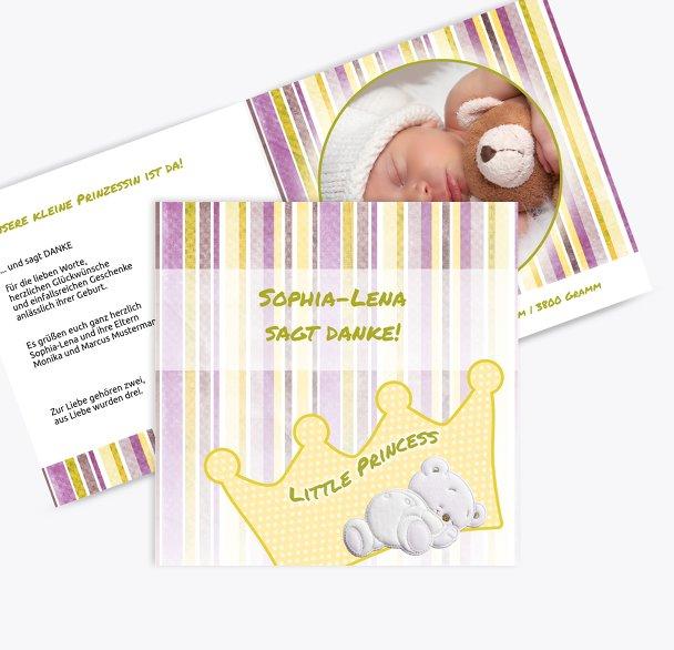 Baby Dankeskarte Krone