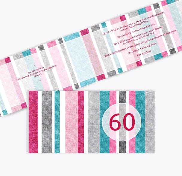 Einladung Gestreift 60