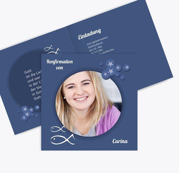 Einladungskarte zur Konfirmation Star