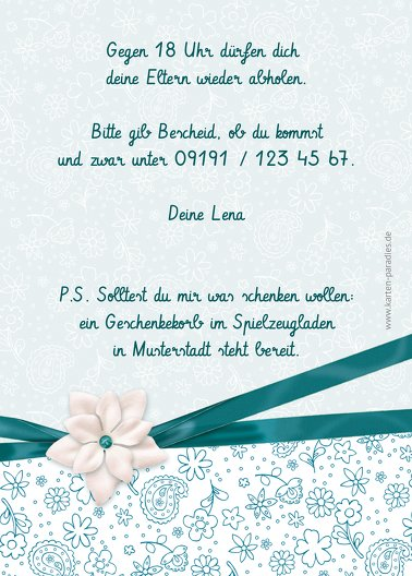 Ansicht 3 - Einladung zum Kindergeburtstag Foto Jasmin