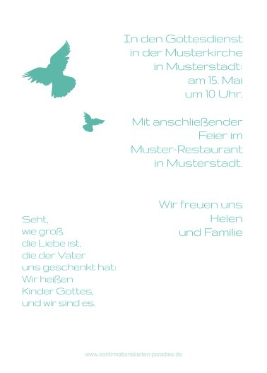 Ansicht 3 - Konfirmationskarte Einladung Taube