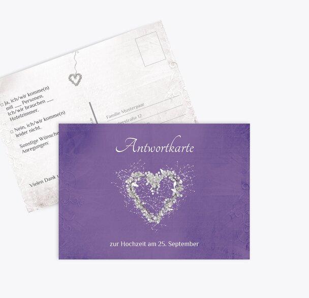 Hochzeit Antwortkarte glamour heart