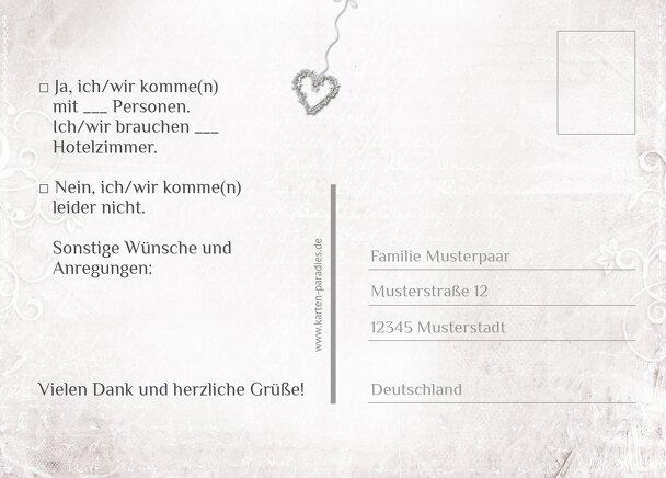 Ansicht 3 - Hochzeit Antwortkarte glamour heart