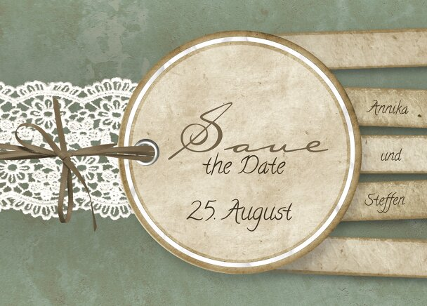 Ansicht 2 - Save-the-Date Vintage Lace
