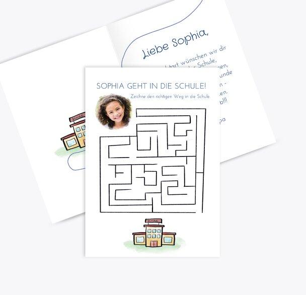 Glückwunschkarten Einschulung Schule Labyrinth