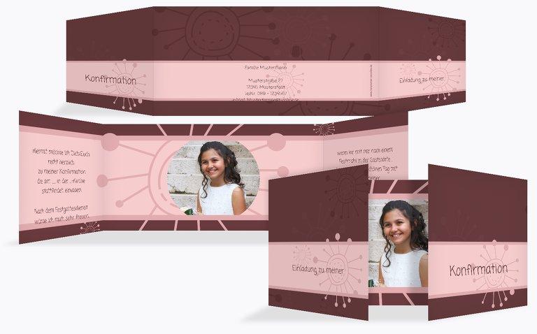Konfirmation Einladungskarte Blumen