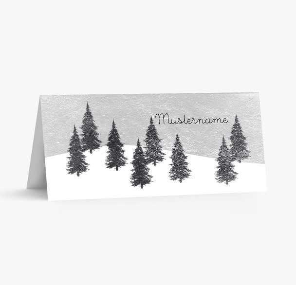 Tischkarte Winterwald