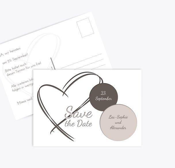 Hochzeit Save-the-Date Doppelherz