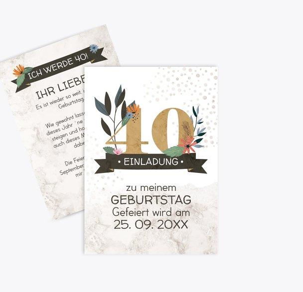 Geburtstagseinladung Blumenzahl 40